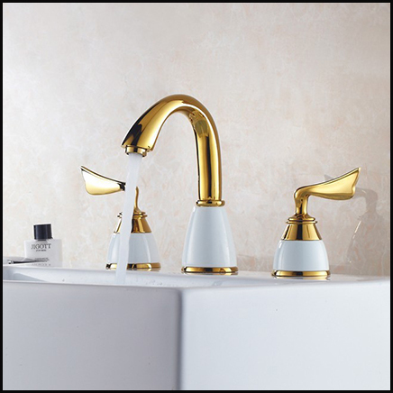3pcs Faucet Set Fashion Gold Plated Copper White Brass Bathroom Bathtub Faucet Thermostatic