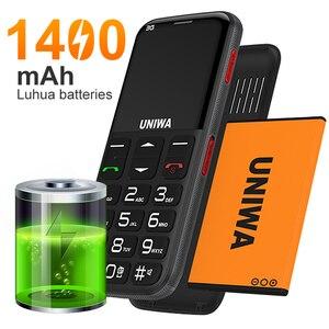 """Image 4 - UNIWA V808G هاتف محمول رجل يبلغ من العمر 3G SOS زر 1400mAh 2.31 """"شاشة منحنية الهاتف المحمول مصباح يدوي الشعلة هاتف محمول لكبار السن"""