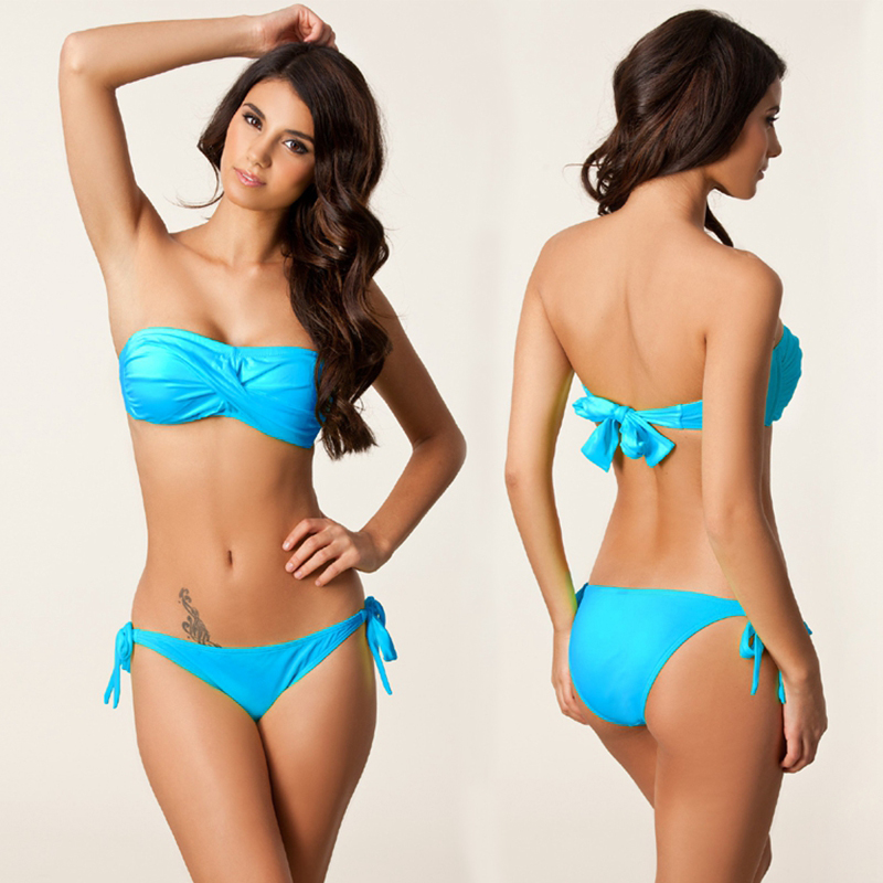 49e92434c5e3d Twisted Bandeau Top Swimming Wear Removable Neck Halter Bikini Bathing  Suits 2019 Vintage Bandage Sponge Push