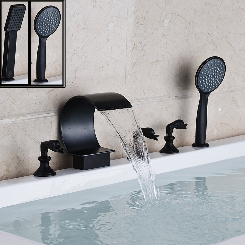 Deck Mount Curved Waterfall Spout Bath Tub Faucet with Hand Shower Widespread 5pcs Bathroom Bathtub Mixers