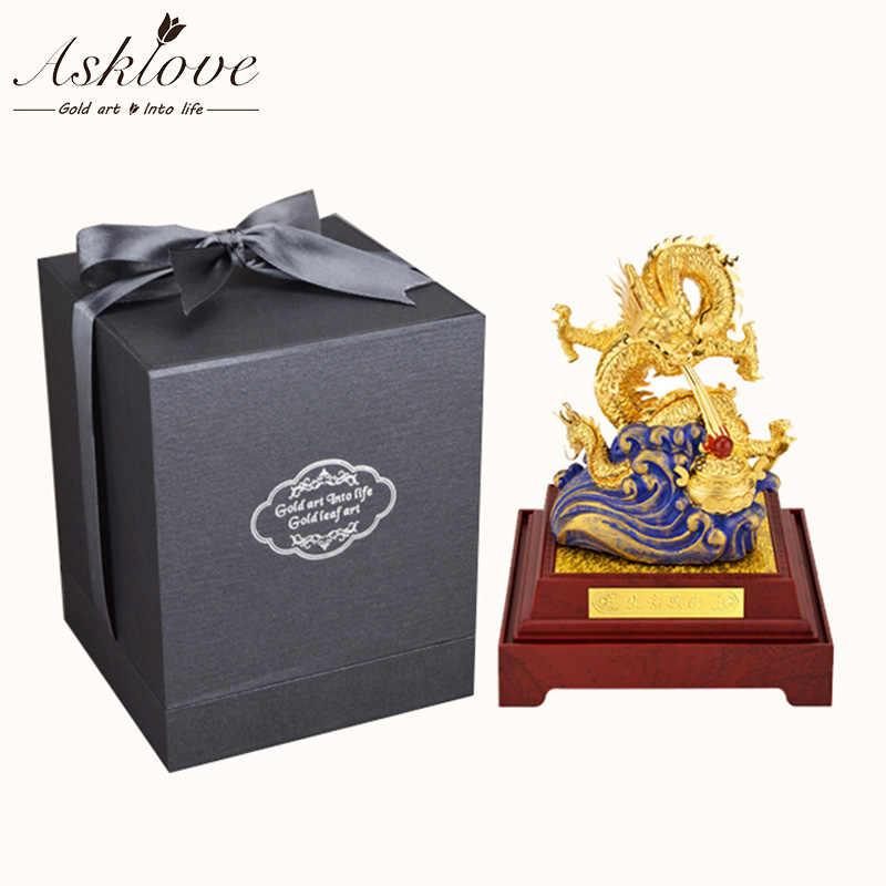 Fengshui Dragon 24k Goud Folie Chinese Geomancy Gouden Draak Beeldje Standbeeld Ornamenten voor Geluk en Succes Decoratie Thuis Ambachten