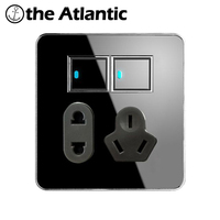Atlantic 2 Gang 2 Way Free Click Push Button Wall Light Switch With LED Indicator 5