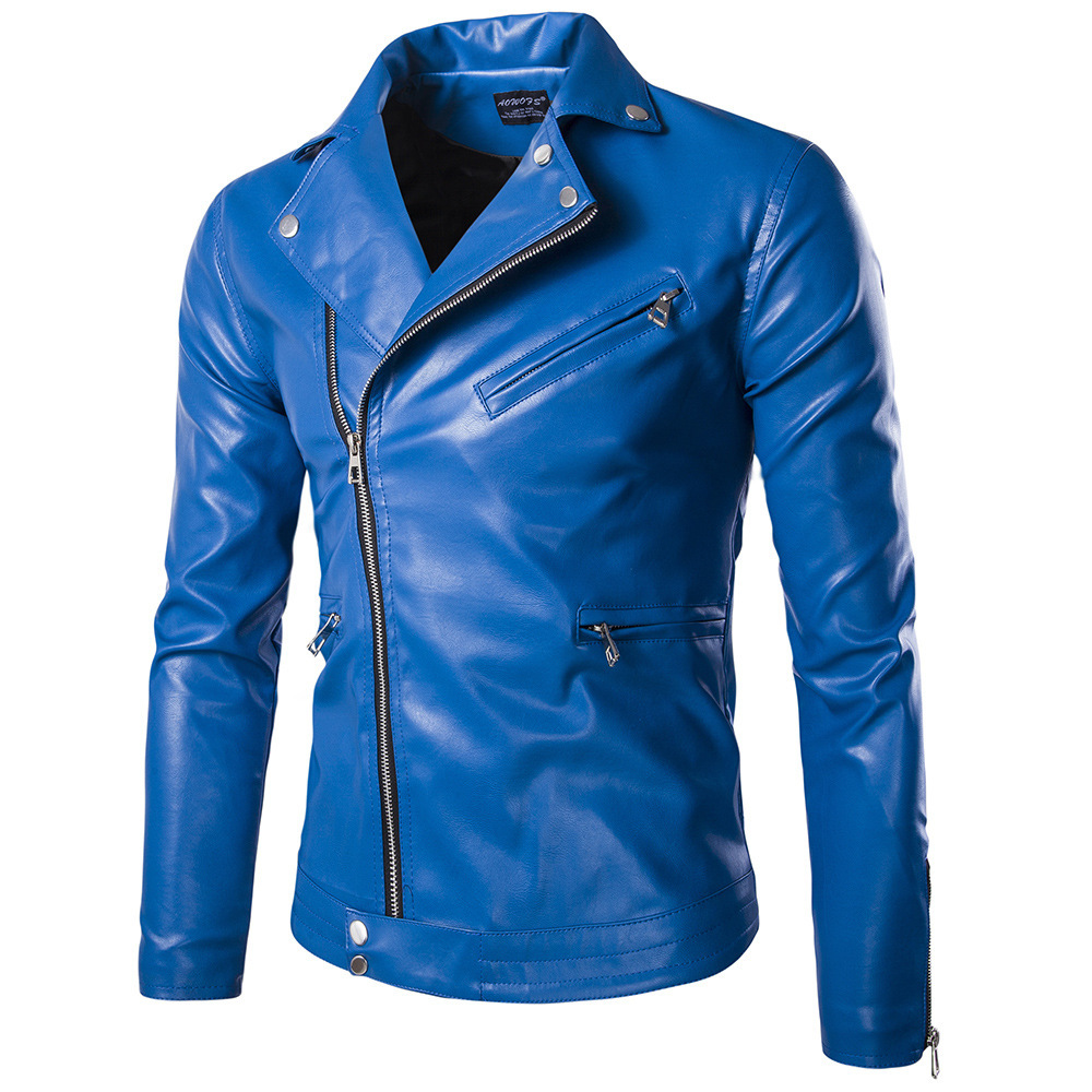 Popular Mens Blue Leather Jacket-Buy Cheap Mens Blue Leather ...