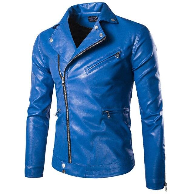 9367d5578aa59 Moda Para Hombre de las Chaquetas de Cuero Azul Negro Cabidas Delgadas  Cazadora Chaquetas Abrigos