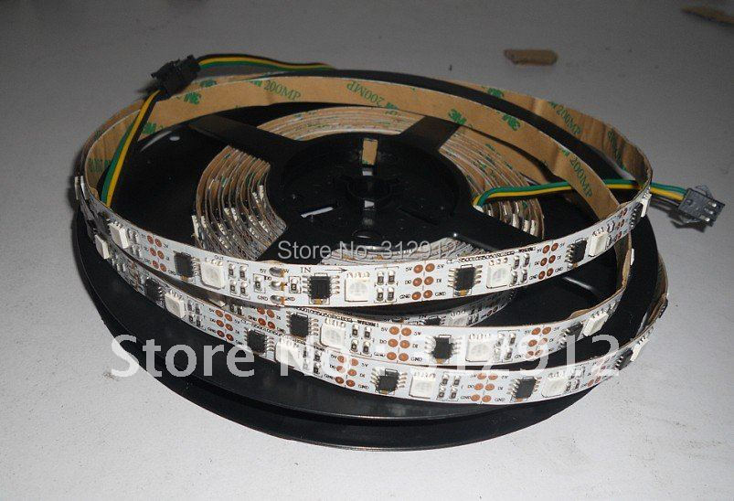 5m led digital strip,DC5V input,WS2811 IC(256 scale);32pcs IC and 32pcs 5050 SMD RGB each meter;non-waterproof 5m ws2801 raspberry pi control led strip 32leds m external 2801 ic arduino development ambilight dc5v non waterproof 5050 smd