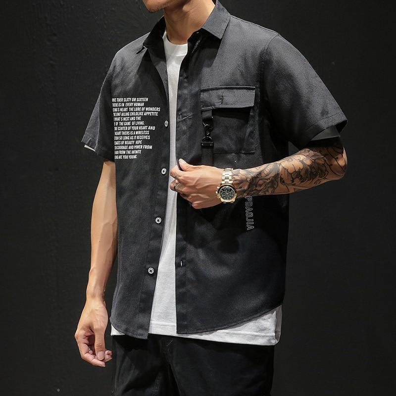 New Fashion Men Shirt Summer Hawaii Casual Slim Fit White Short Sleeve Shirt Japanese Streetwear High Qualityplus Shirts Size