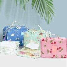 Детские сумки для подгузников, сумки для беременных, одноразовые многоразовые, модные принты, влажные, сухие пеленки, Сумка с двойной ручкой, Влажные Сумки
