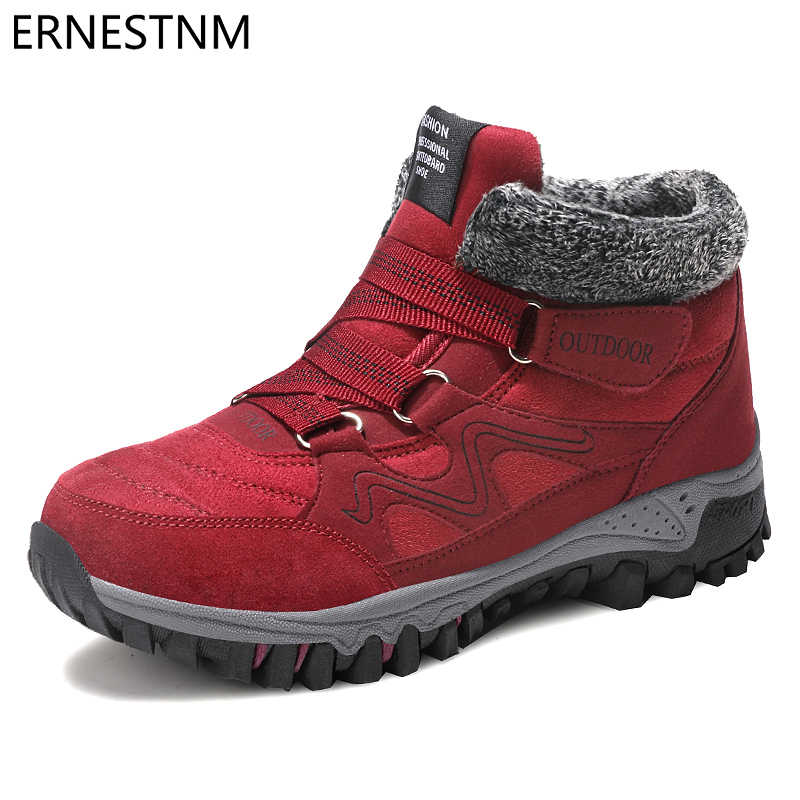 ERNESTNM 2019 bottes d'hiver bottes de neige chaudes imperméable vache daim chaussures femme cheville plate-forme bottes grande taille bottes de Combat femmes