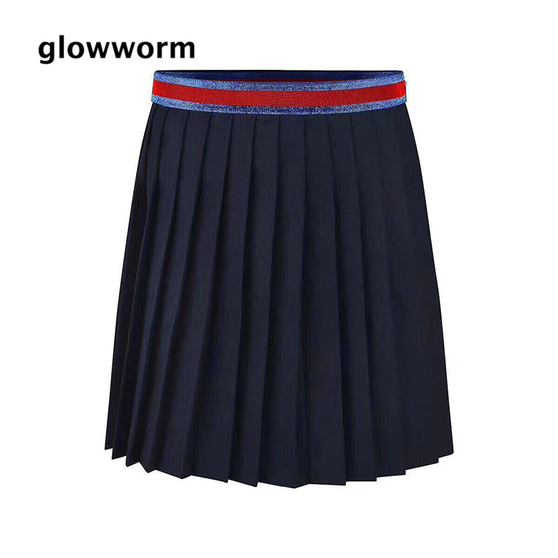 Glowwormkids Baby Girls Clothing New 2018 Pleated Skirt Wool Skirt Autumn Winter Short Skirt College Style Navy blue hs092 dabuwawa autumn women fashion sexy plaid skirt elegant mini pleated skirt short streetwear asymmetrical skirt d17csk031 page 1