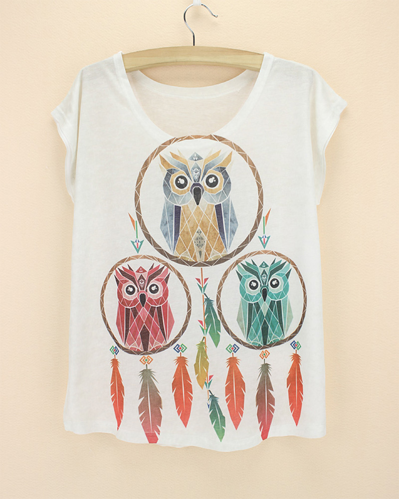 Green red yellow owls dream catcher tshirts animal 3d for Print photo on shirt
