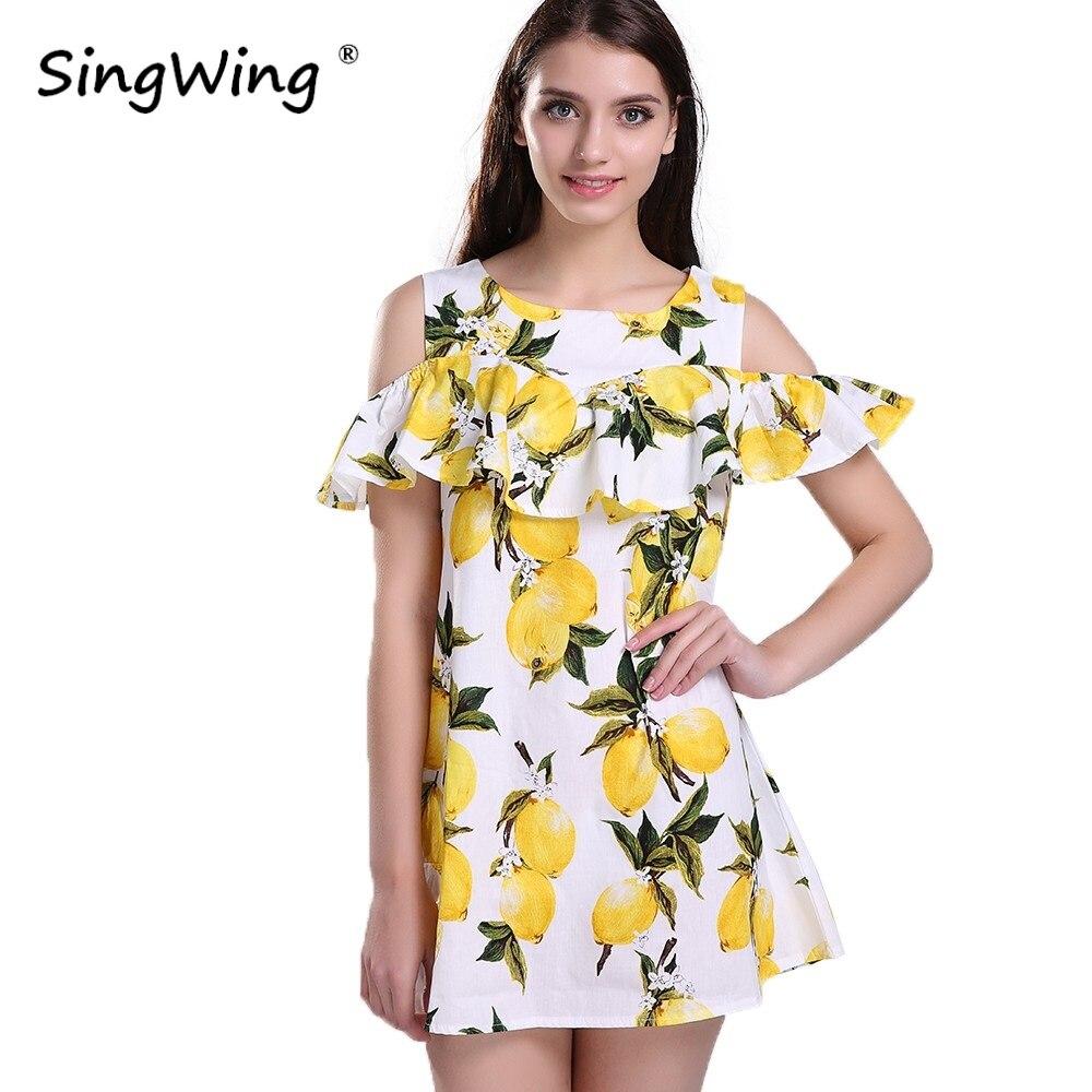 Sl sl fashion dresses - Singwing Fashion Women Off Shoulder Lemon Print Dress Above Knee Mini O Neck Dress Summer Women S Dresses