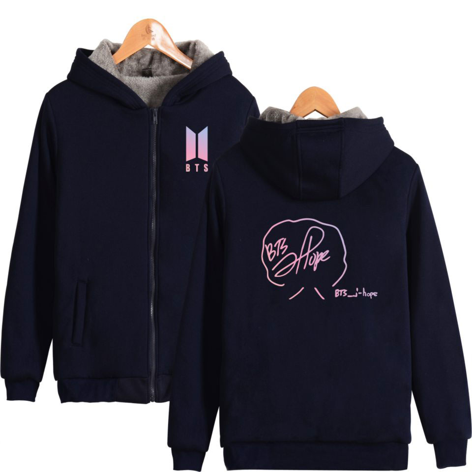 BTS Bangtan Boys K-pop Member Signature Thicker Zipper Hoodie Sweatshirt Jin Suga J-Hope ...
