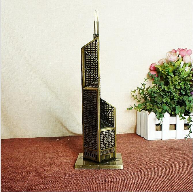 Bank of China Tower metal crafts decoration retro bronze building model 8*26.5CM office desktop miniature models home decor