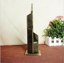 Bank of China Tower artesanía de metal decoración retro bronce modelo de construcción 8*26.5 CM modelos en miniatura de escritorio de oficina en casa decoración