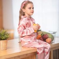 2019 New Silk Skin friendly Sweet Strawberry Cute Long Sleeves Girl Pajamas Set Children Toddler Pajamas Gift Hair Band
