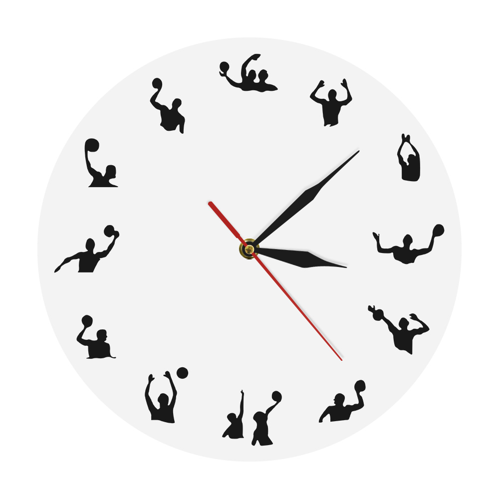 Water Polo Minimalist Design Modern Wall Clock Sport Ball Competition Pool Game Team Play Swimming Water Polo Wall Watch Gift