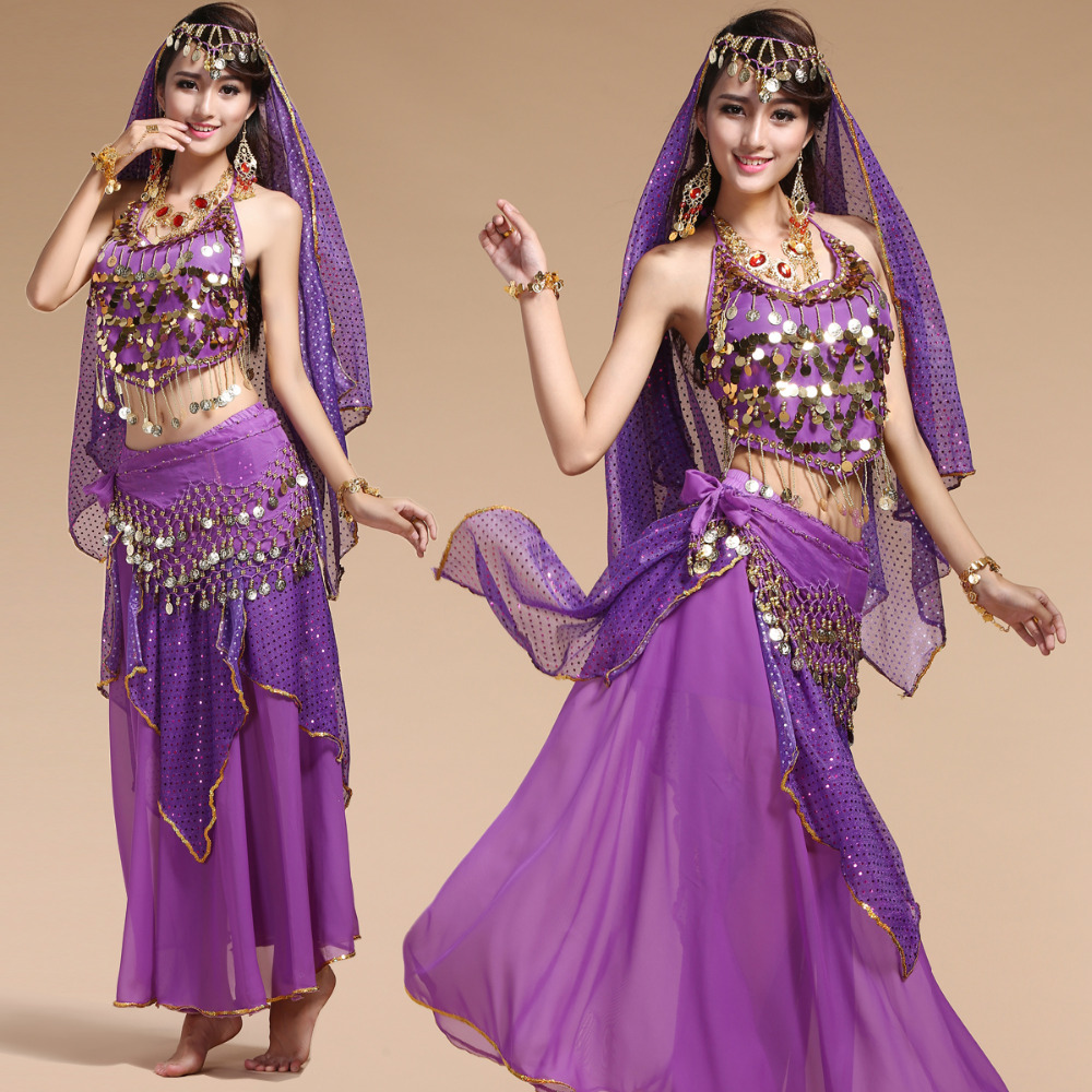 4pcs Set Sexy Egypt Belly Dance Costume Bollywood Costume Indian Dress Bellydance Dress Womens Belly Dancing