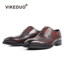 купить VIKEDUO New Full Brogue Men's Oxford Dress Shoes Patina Bespoke Handmade Blake Formal Shoes Male Wedding Office Business Zapatos дешево