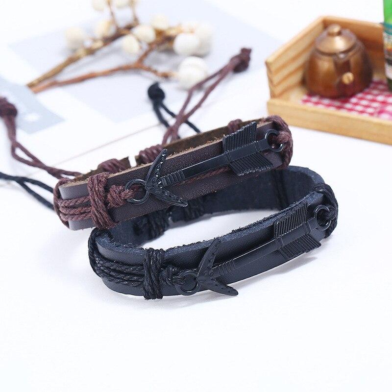 LE SKY 2018 New Arrow Leather Bracelet Women Men Leather Bracelets Punk Rope Chain Unique Bangles For Male