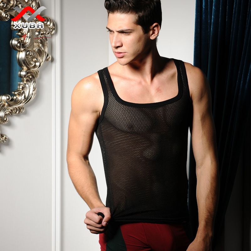 Free shipping XUBA Men's vest sexy mesh basic shirt Breathable vest Tank top