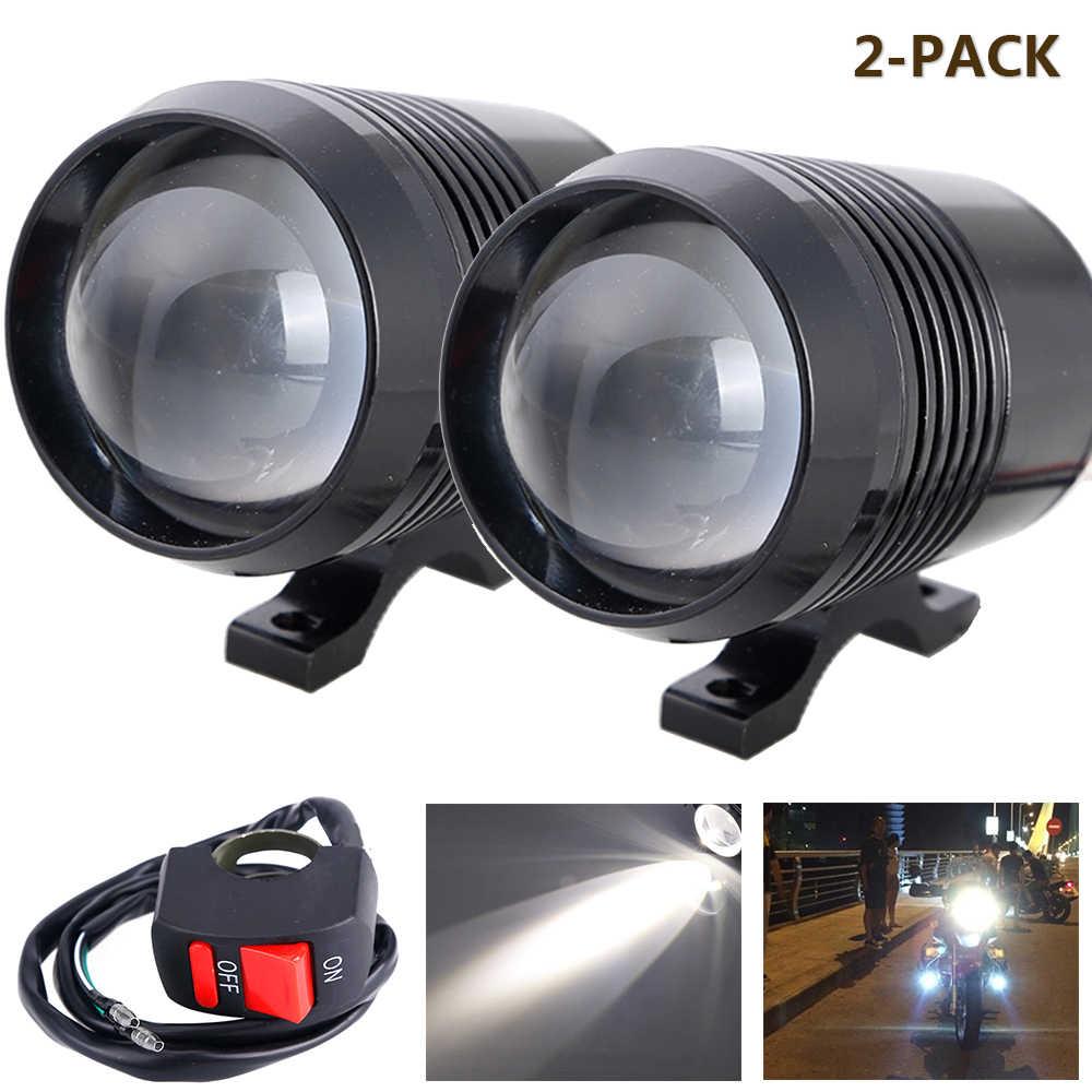 2PCS Motorcycle Headlight U2 1200LM 30W High Low Flash LED Driving Running Light