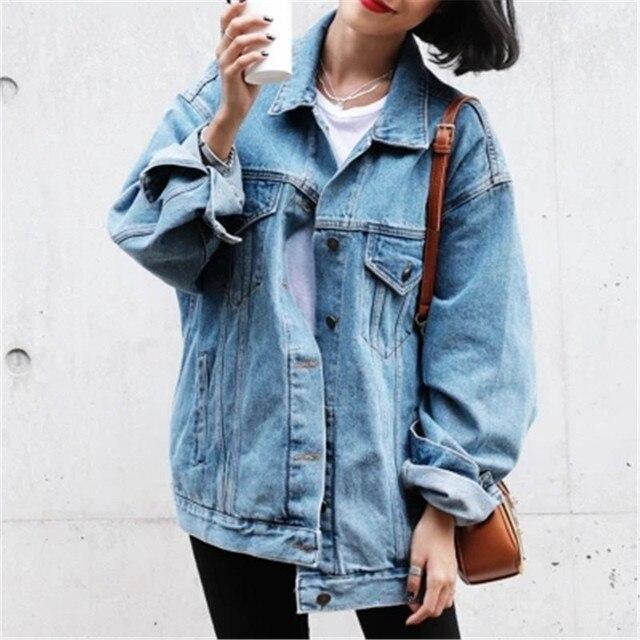 2018 по Размеры d одноцветное пальто Джинсовая куртка, пальто женские Повседневная Верхняя одежда свободные Светло-голубой плюс Размеры Для женщин джинсовая куртка ZY4159