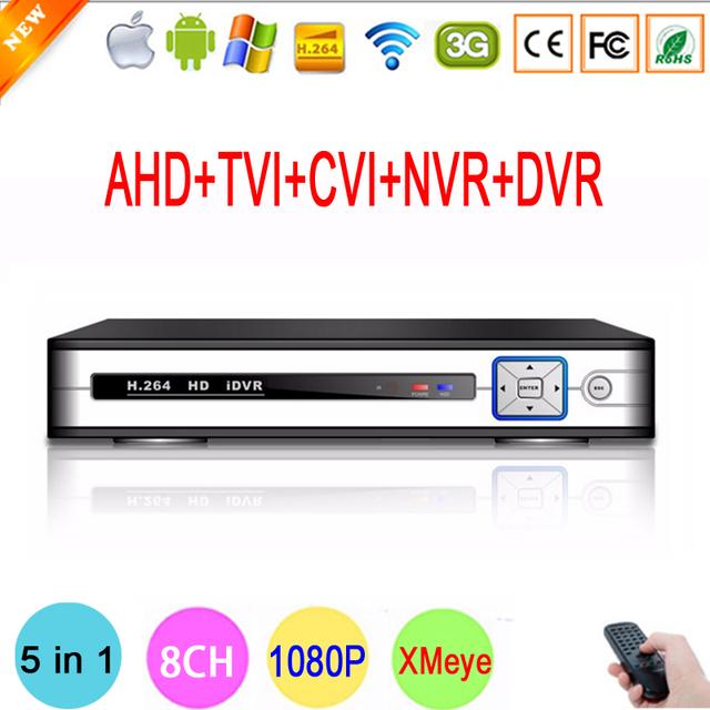 Branco de Prata do Metal 1080 P Câmera de Vigilância 8CH Hi3520D 1080N Coaxial Híbrido 5 em 1 CVI TVI AHD CCTV IP NVR DVR Livre grátis
