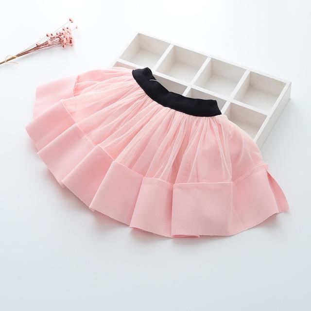 New 2017 spring and summer autumn new girl baby stitching waist skirt children fashion lace skirt kids girl skirts