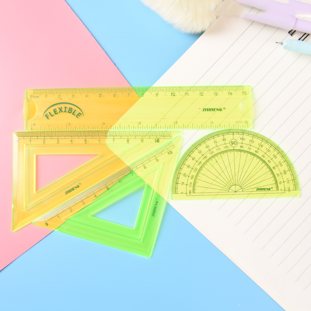 4Pcs/set Multicolour Student Ruler Sets Straight Protractor Triangular Ruler Measure Soft Flexible Rulers Stationery Wholesale