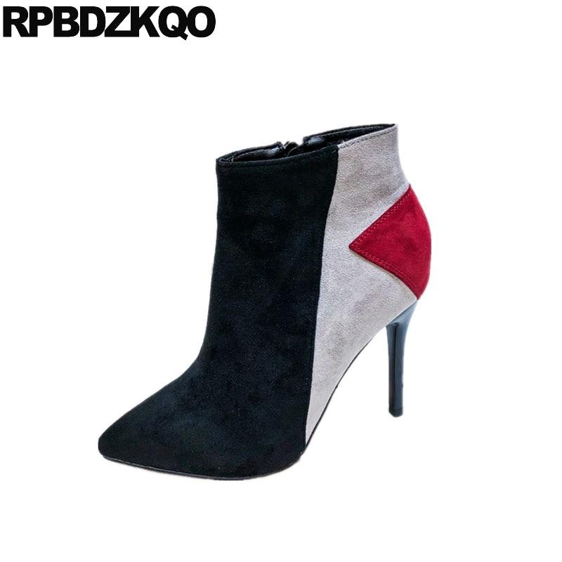 Donna Tacco Punta Stivaletti Modo Stiletto Inverno Breve Vintage Black  Stivali Della A Di Apricot black Scarpe ... 52790967205