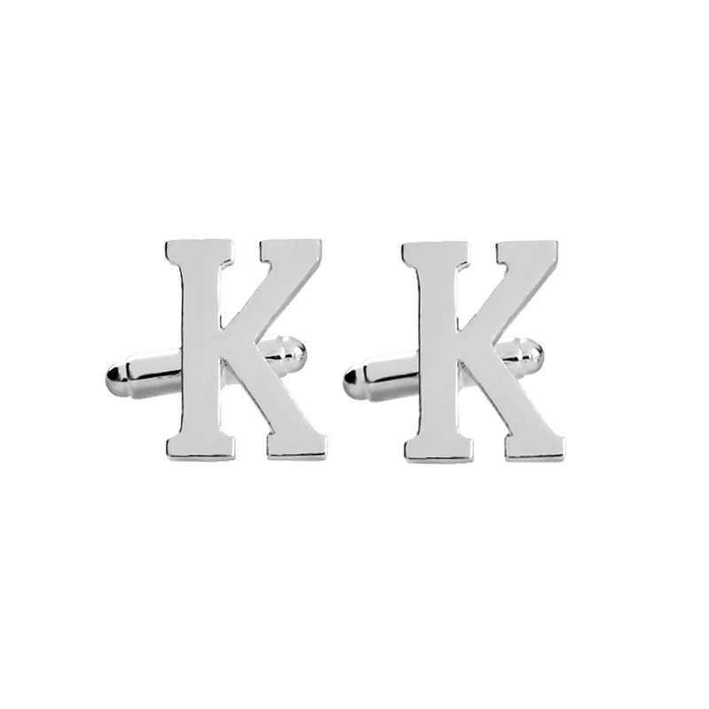 Letras maiúsculas Abotoaduras Cor Prata Abotoaduras Dos Homens para o Sexo Masculino A B C D E F G H I J K L M N O P Q R Francês Camiseta Cuff Botões