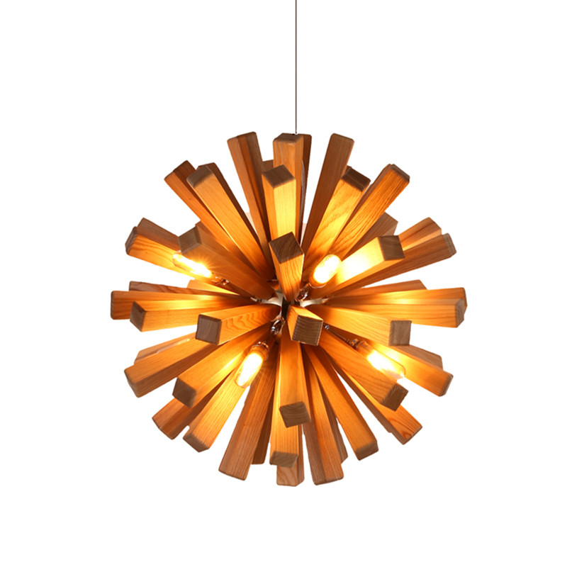 Us 329 98 Led Firework Explosion Wood Pendant Light Fixtures Rustic Lighting For Restaurant Loft American Country Style Design Pll 722 In