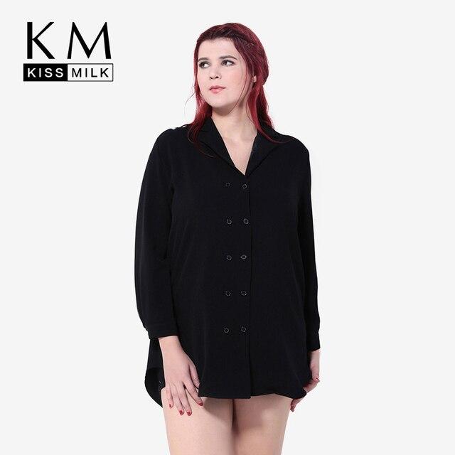 Kissmilk Плюс Размер Новая Мода Женщины Элегантный Кнопка Вниз Дамы Офис С Длинным Рукавом Пальто 3XL 4XL 5XL 6XL