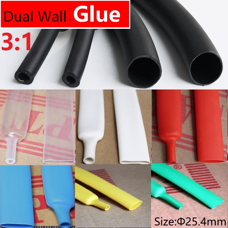 Dual-Wall Black Glue Lined 3:1 Heat Shrink Tubing Sleeving 7 Size Kit 1.2m New
