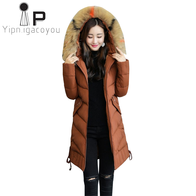 d8076280514f1 Black Parka Women Long Winter Coats Big Fur Collar Hooded Jackets Plus size  Ladies Warm Parkas Coat Women Elegant Overcoat 5XL