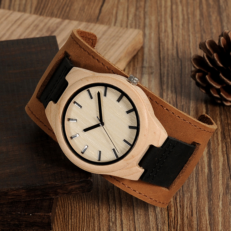 Round Vintage Watche Bamboo Maple Genuine Leather Wristwatches