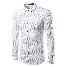 2017 Брендинг Ткань С Длинным Рукавом мужская Рубашка Сорочка Homme Camisa Masculina горошек Печатных модные футболки Плюс размер TU213
