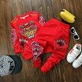 Meninos roupa do bebê casual tigre dos desenhos animados imprimir conjuntos para menino 2016 nova primavera roupas top lã + calças 2 pcs roupas de menino da criança
