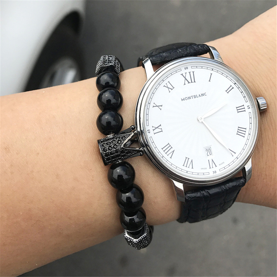 New trendy black white stone beaded bracelet Fashion gold silver color alloy crown bracelet for women men couple bangles jewelry 5