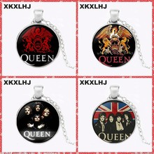 XKXLHJ Rock Band Queen Bohemian Rhapsody Glass Pendant Necklace Handmade Pendant Necklace Couple Girlfriend Best Gift(China)
