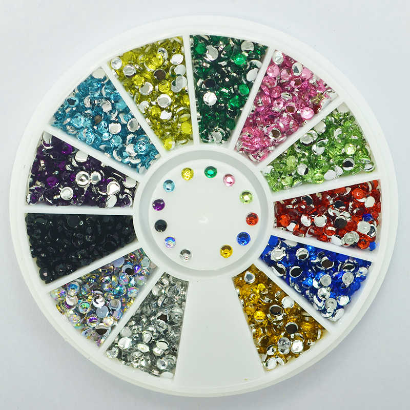 Mix 12 Color Nail Art Tips Decoration Crystal Glitter Rhinestone Nail Tools With Whee DIY Gems Decoration