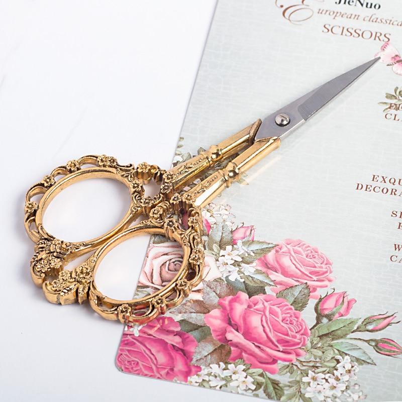 4 Colors European Vintage Floral Pattern Scissors Nail Art Foil Cutter Seamstress Blossom Scissor Antique Sewing Fabric Tool