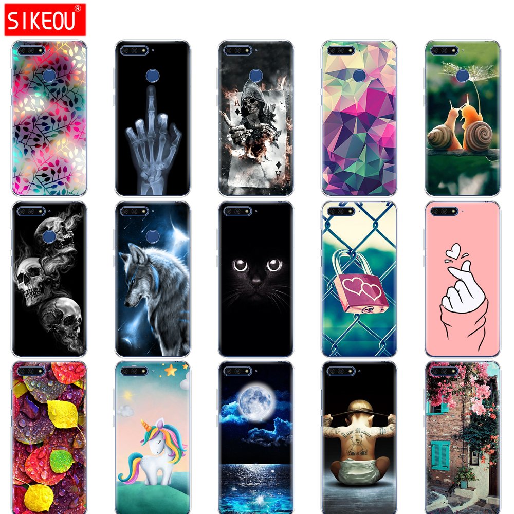 silicone <font><b>case</b></font> for <font><b>huawei</b></font> Y6 <font><b>2018</b></font> <font><b>case</b></font> 5.7 inch Atu-L21 cover for <font><b>huawei</b></font> Y6 Prime <font><b>2018</b></font> back cover protective soft tpu Cat flower image