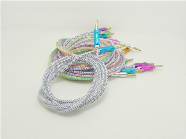 1.5 meters audio line Jelly braided wire to record the audio line 3.5 toward male AUX line car audio line  100PCS