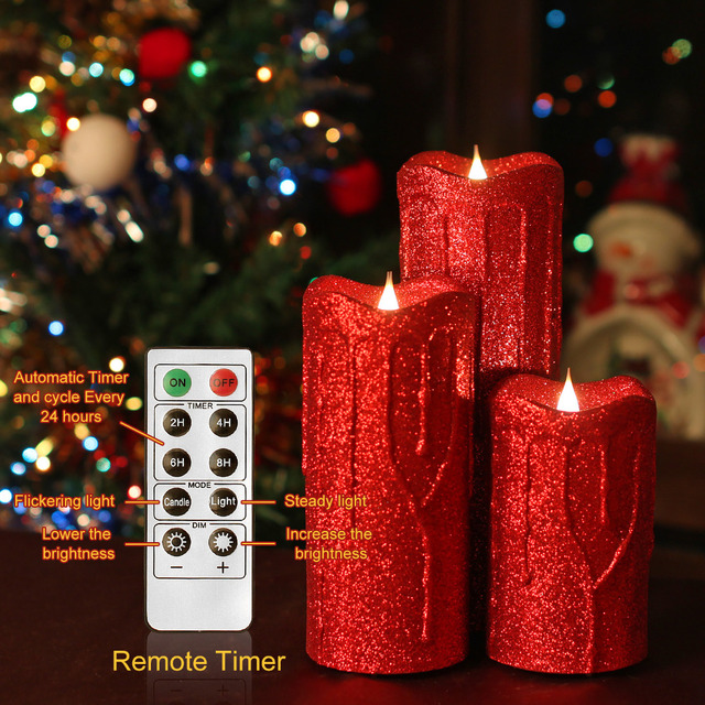 Giveu Flameless Candle Sets Led Pillar With Timer And Remote Christmas Decoration For Home Red