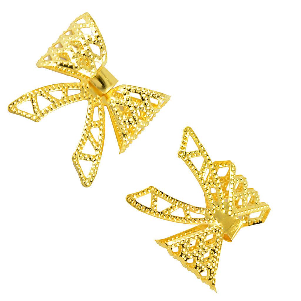 6Pcs coloren oro Filigrana Arco Pendenti E Ciondoli Pendenti Con Gemme E Perle per Gioielli FAI DA TE Che Fanno I Risultati