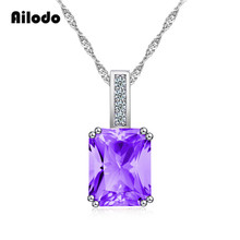 Ailodo Fashion Pendant Necklace For Women Pink Purple Blue Square CZ Crystal Long Choker Necklaces 2019 Collier LD091