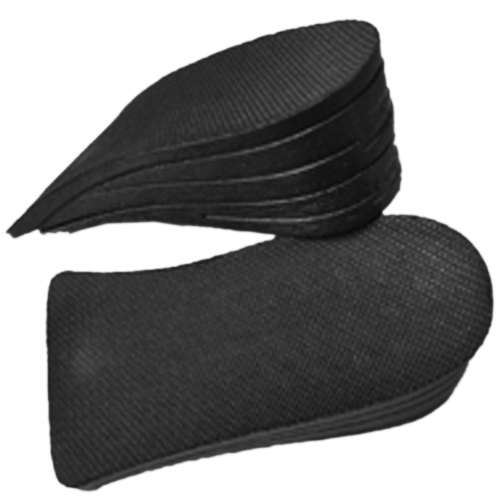 Man Black Soft Silicone Double Layer 2 Up Shoes Pads Height Insoles Pair bog pair double