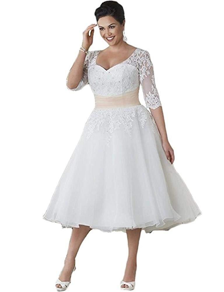 YAXIU 2019 New Women's Elegant White Plus Size 3/4 Sleeve Bride Tea Length Vintage Lace Zipper Wedding dresses