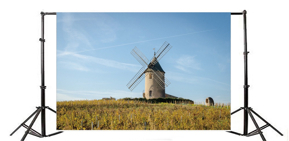 Laeacco Country Farm Field Windmill House Photography Backgrounds Digital Customized Photographic Backdrops For Photo Studio In Background From Consumer